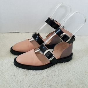 Inch2 Pink Taupe Black Flats Double Strap Flats